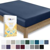 California Design Den 400 Thread Count 100% Cotton 1 Fitted Sheet Only, Indigo Navy Blue King Fitted Sheet, Long - Staple Combed Pure Natural Cotton Sheet, Soft & Silky Sateen Weave