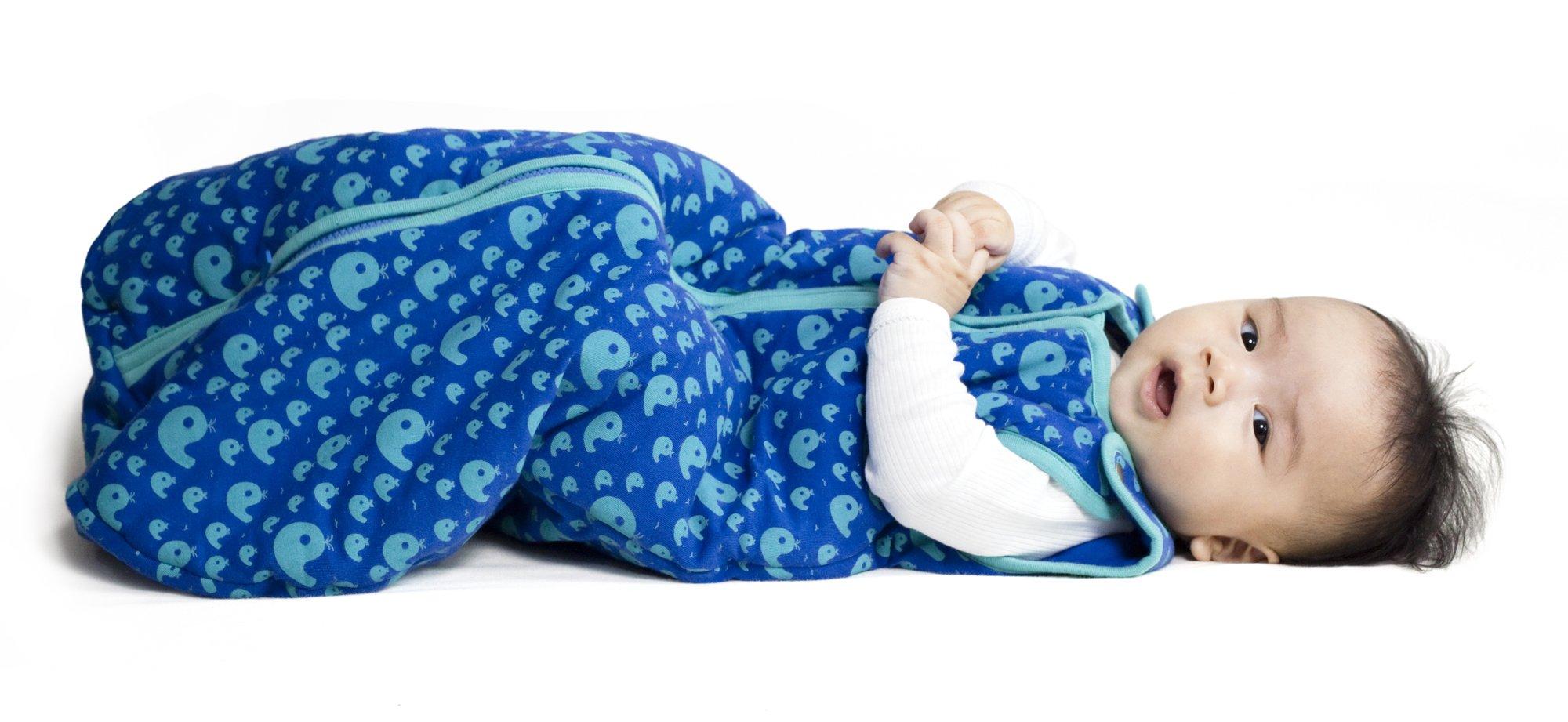 Baby deedee Sleep Nest Tee Baby Sleeping Bag- Playful Whales-Medium