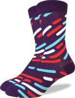 Good Luck Sock Men's Purple Streaks Geometric Crew Socks - Purple, Adult Shoe Size 7-12