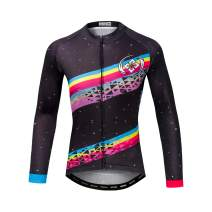 DuShow Women Cycling Jersey Long Sleeve Bike Jersey Breathable Quick Dry Cycling Shirts with Pockets