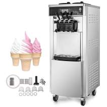 VEVOR 2200W Commercial Soft Ice Cream Machine 3 Flavors 5.3-7.4Gallons/H Auto Clean LED Panel Perfect for Restaurants Snack Bar supermarkets, 2200W, Silver