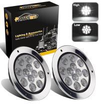 "Partsam 2PCS 12 LED White 4"" Round Backup Reverse Lights Marker w/Stainless Rings Sealed"