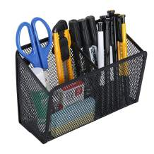 Ollieroo Magnetic Pen and Pencil Holder with 2 Compartments Mesh Storage Basket Organizer Caddy for School Locker Office Arts Supplies