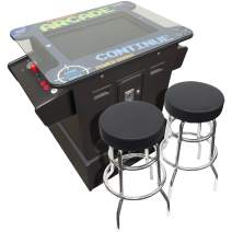 "Creative Arcades Full-Size Commercial Grade Cocktail Arcade Machine | Trackball | 412 Classic Games | 2 Sanwa Joysticks | Includes Stools and Riser | 26"" Screen 