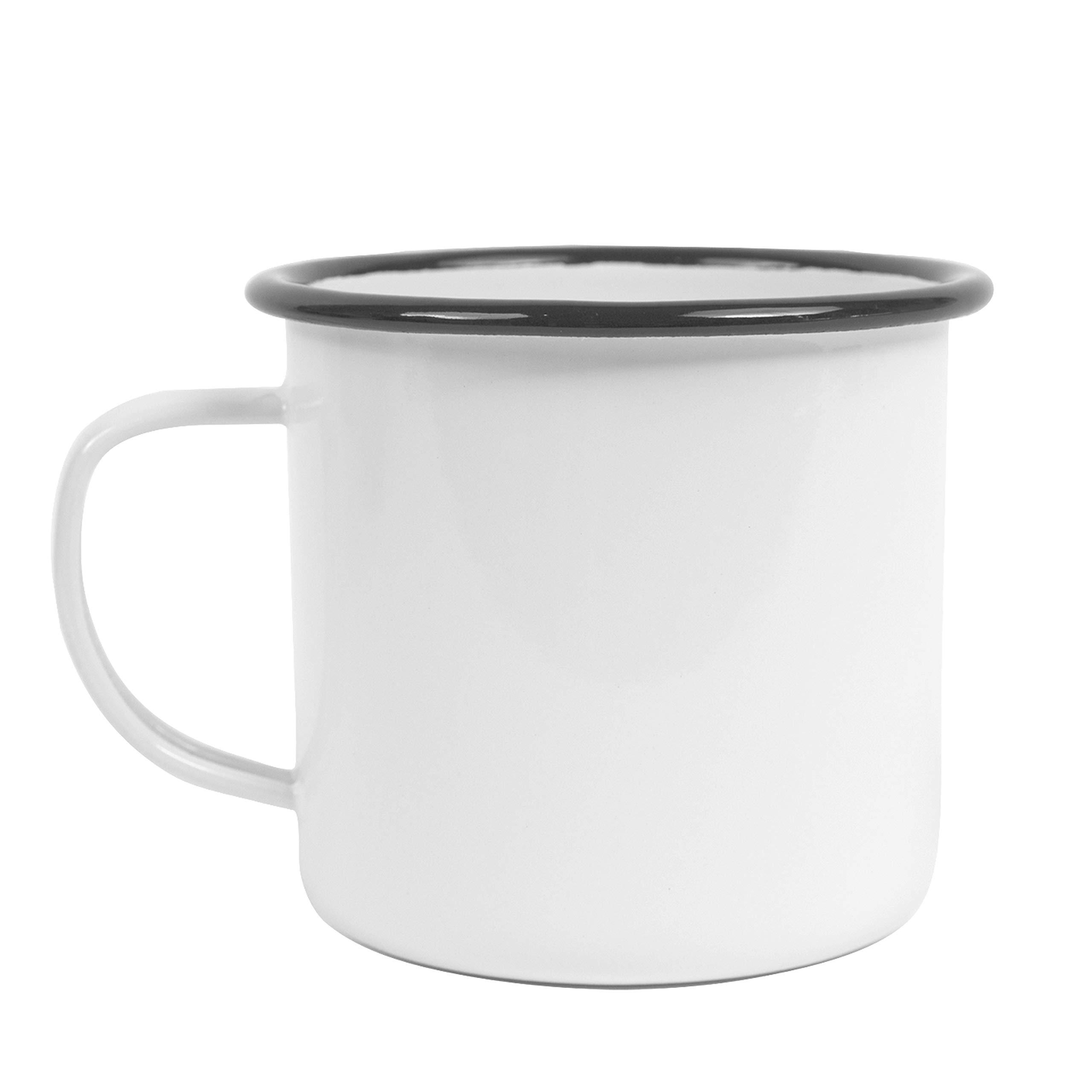 Enamelware Mug, 16 ounce, Vintage White/Black (Set of 4)