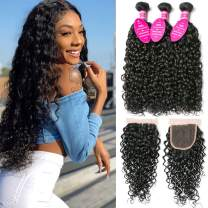 Brazilian Water Wave Hair 3 Bundles with Closure for Black Women with Baby Hair (10 12 14+8) 100% Unprocessed 150% Density Water Curly Wave Bundles with 4X4 Lace Closure Wet and Wavy Remy Human Hair