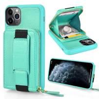 iPhone 11 Pro Max Zipper Case, ZVEdeng iPhone 11 Pro Max Zipper Wallet Case with Credit Card Holder, iPhone 11 Pro Max Kickstand Case with Wrist Strap Bumper Phone Case Handbag-Mint Green