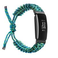Wongeto Compatible with Fitbit Inspire 2 & Inspire/Inspire HR Bands for Women Men, Adjustable Handcrafted Paracord Watch Band Replacement Bracelet with Drawstring Clasp for Inspire Smartwatch (Blue)