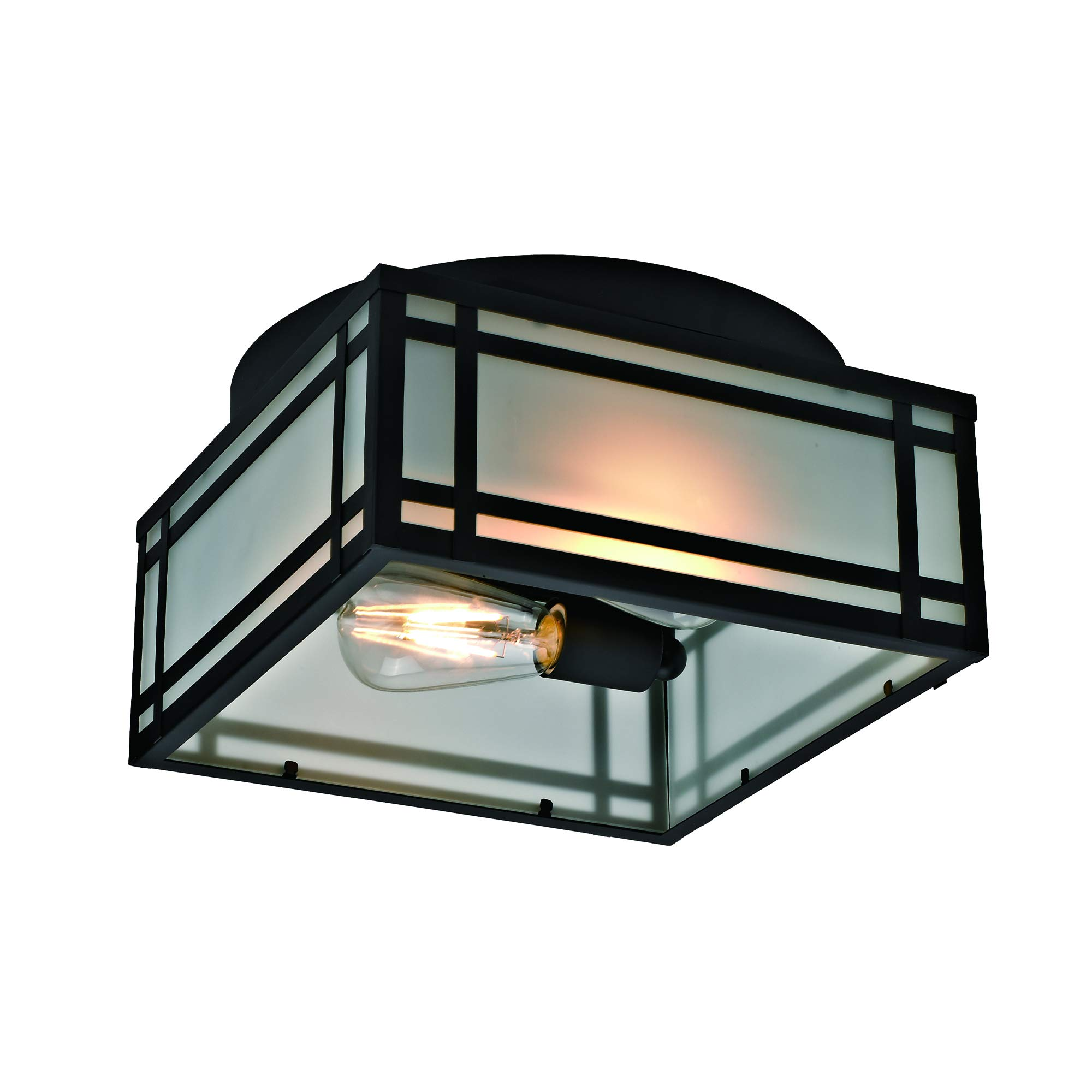 Addington Park 31748 Yorkshire Collection 2-Light Mission-Style Outdoor Flush Mount with Frosted Glass, Black