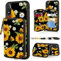 LAMEEKU iPhone XR Wallet Case, iPhone XR Case with Zipper Leather Kickstand Credit Cards Holder Slots Wrist Strap, Anti-Scratch Shock Absorption iPhone Cover Case for iPhone XR 6.1'' - Sunflower