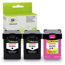NineLeaf Remanufactured Ink Cartridge Compatible for HP 65XL 65 XL High Yield N9K04A Deskjet 2655 2622 3755 3758 3752 3732 3730 3722 3721 3720 (2 Black 1 Tri-Color,3 Pack)