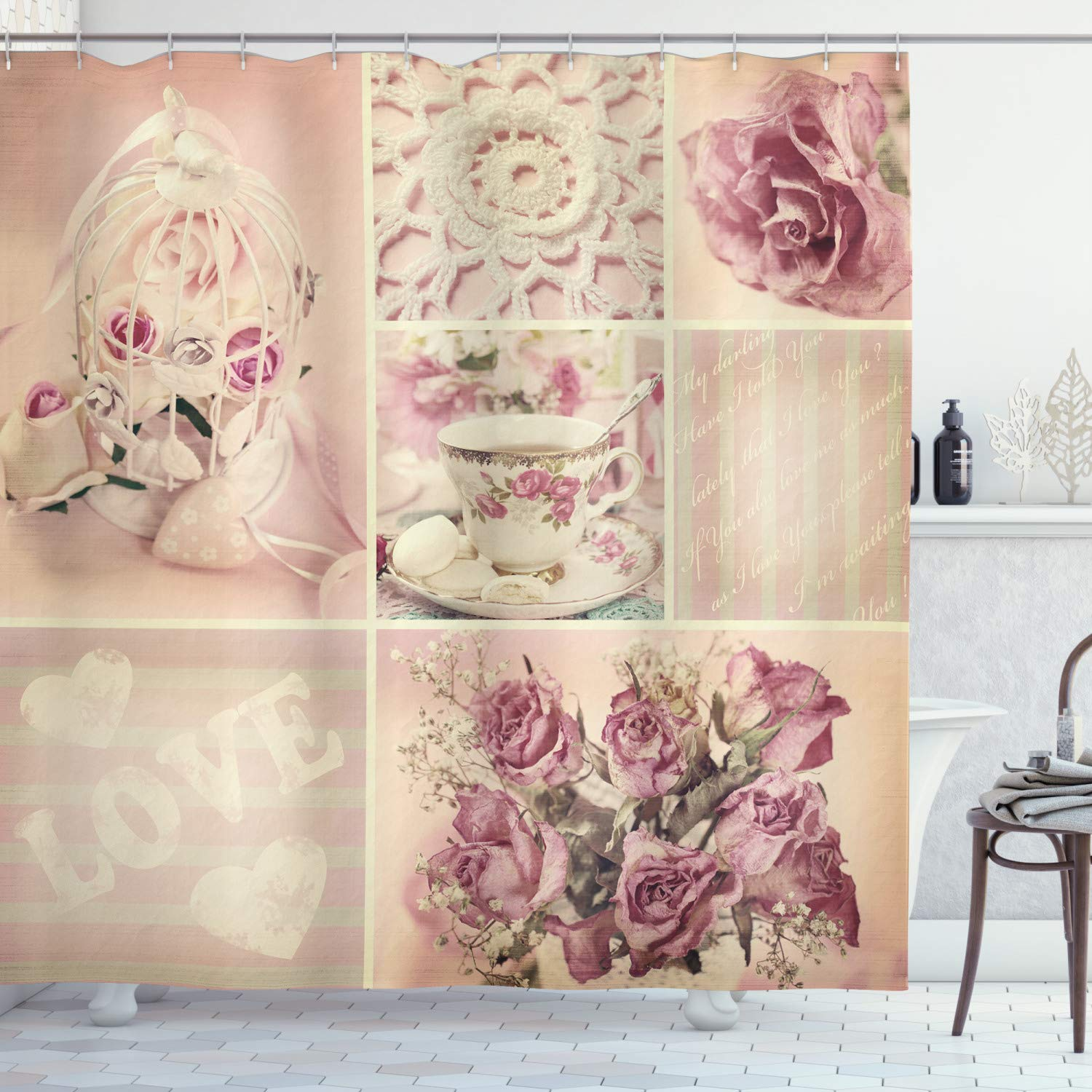 """Ambesonne Shabby Flora Shower Curtain, Grandmother Mothers Day Vintage Themed Lace Cage Cups Flowers, Cloth Fabric Bathroom Decor Set with Hooks, 75"""" Long, Lilac Pink"""