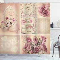 """Ambesonne Shabby Flora Shower Curtain, Grandmother Mothers Day Vintage Themed Lace Cage Cups Flowers, Cloth Fabric Bathroom Decor Set with Hooks, 84"""" Long Extra, Lilac Pink"""