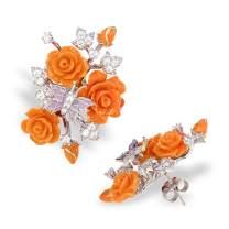 "Jeannie Rose |""Fluttering Blossoms of Love Jewelry Set | Women's Silver Jewelry Set | Orange"