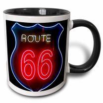 3dRose Albuquerque New Mexico Use Route 66 Two Tone Mug, 11oz, Black