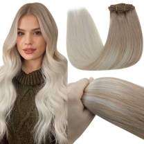 LaaVoo Blonde Clip in Human Hair Extensions 22 Inch #18 Ash Blonde to #60 Platinum Blonde 7pcs/120g Real Hair Clip in Extensions Silky Soft Clip in Human Hair Blonde
