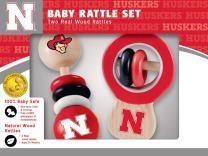 MasterPieces NCAA Nebraska Cornhuskers, Natural Wood, Non-Toxic, BPA, Phthalates, & Formaldehyde Free, Baby Rattle, 2 Pack