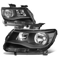 Replacement for Chevy Colorado 2nd Gen Pair of Black Housing Clear Corner Headlight Lamp