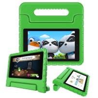 Fintie Shock Proof Case for All-New Amazon Fire 7 Tablet (9th Generation, 2019 Release) - Kiddie Series Light Weight Convertible Handle Stand Kids Friendly Cover, Green