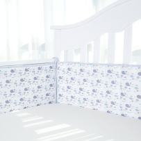 TILLYOU Cotton Collection Baby Safe Crib Bumper Pads for Standard Cribs Machine Washable Padded Crib Liner Thick Padding for Nursery Bed Safe Crib Guards Protector de Cuna, 4 Piece, Gray Whale