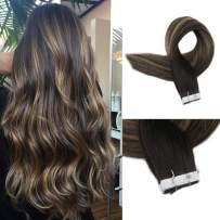 Full Shine 16 Inch Skin Weft Tapes Human Hair Glue In Extensions Double Side Color #2 Fading To Color #3 And Color #27 Highlighted Ombre Hair Extensions 50g