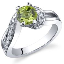 Majestic Wave 0.75 carats Peridot Ring in Sterling Silver Rhodium Nickel Finish Sizes 5 to 9