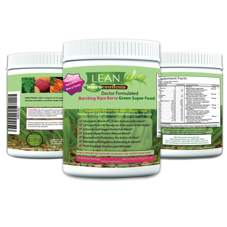 Lean Nutraceuticals Greens Powder - Green Superfood Doctor Formulated Wheat Grass Spirulina Chlorella with 24 Raw Orac Green Powder Immunity Boosting, Detox, Alkalizing 240g 30 Servings