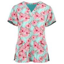 Women Working Uniform V-Neck Tops with Pockets Short Sleeve Print Tops Blouse Shirt