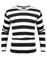 Sykooria Mens Basic Striped T-Shirt Crew Neck Cotton Vintage Couple Casual Halloween Slim Fit Stripes Top Tees S-XXL