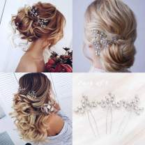 Unicra Bride Wedding Crystal Hair Pins Bridal Silver Hair Pieces Wedding Hair Accessories for Women and Girls Pack of 3