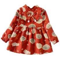 Weixinbuy Kid Baby Girls Ruffled Collar Long Sleeve Princess Party Wedding Flower Dresses
