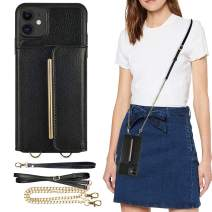 iPhone 11 Crossbody Case, 6.1inch, iPhone 11 Wallet Case, ZVEdeng iPhone 11 Case with Card Holder, iPhone 11 Case with Wrist Strap Kickstand, Shockproof Leather Credit Card Case Crossbody Bag-Black