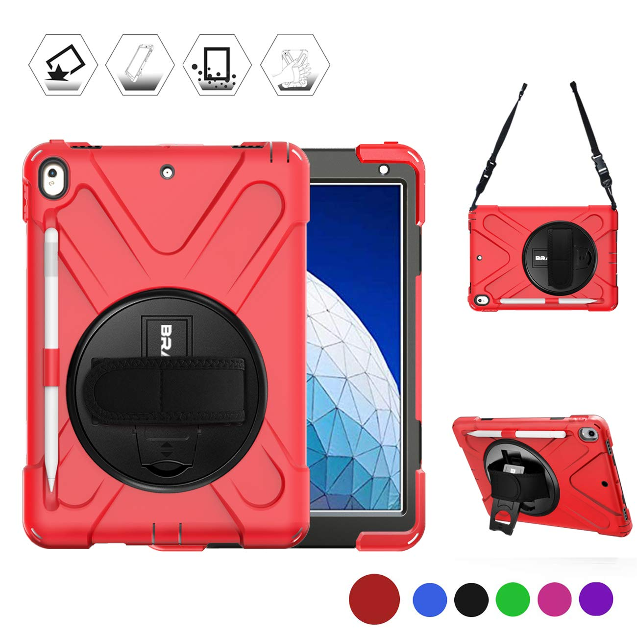 """BRAECN iPad Air 10.5"""" Case with Pencil Holder, Kickstand/Hand Strap & Shoulder Strap,Heavy Duty Protection Childproof Silicone Kids Case for iPad AIir 3rd Gen 2019 A2152 /iPad Pro 10.5 A1709/A1701-Red"""