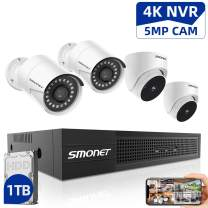 5MP 8CH PoE Home Security Camera Systems,SMONET Ultra HD Video Surveillance System,4pcs Wired PoE IP Cameras,24/7 Recording for NVR Kits,Indoor&Outdoor CCTV Camera with Night Vision
