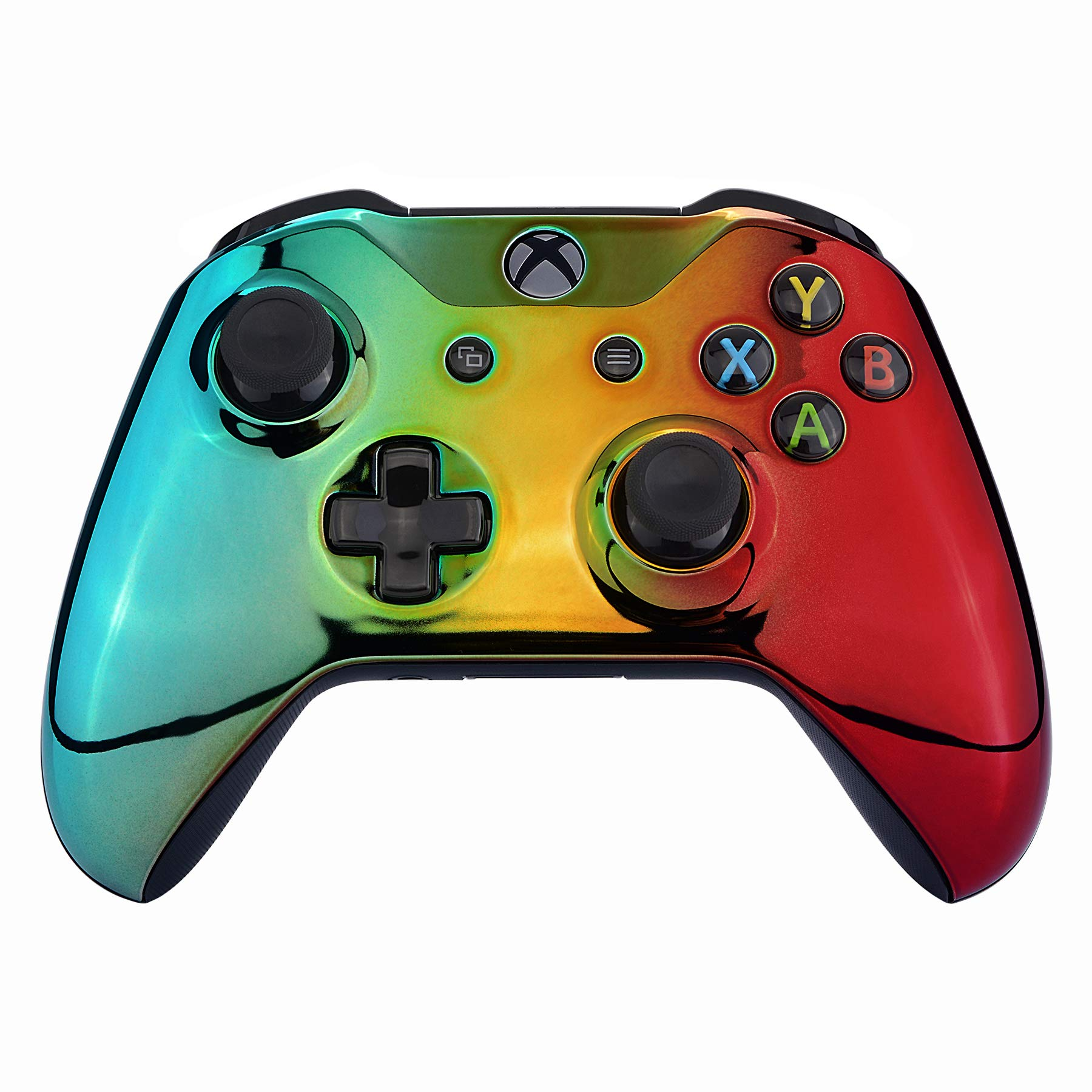 eXtremeRate Tri-Color Gradient Faceplate Cover, Chrome Cyan Gold Red Front Housing Shell Case Replacement Kit for Xbox One S & Xbox One X Controller (Model 1708)