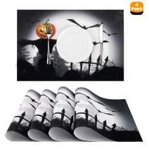 "Nuovoware Halloween Placemats, [4 PACK] 11.8"" H x 17.7"" W Premium Exquisite Crossweave Stain Resistant Heat-resistant Non-slip Textilene Woven Plaid Dining Mat Pads Place Mats, Scarecrow Pumpkin"