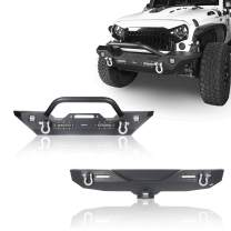 Hooke Road Front Winch Bumper & Rear Hitch Bumper Combo Kit Compatible with Jeep Wrangler JK & Unlimited 2007-2018 2/4 Doors Sport Sahara Rubicon Freedom