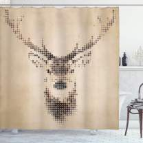 """Ambesonne Deer Shower Curtain, Retro Style Deer Portrait with Digital Dots and Geometric Circle Vintage Graphic, Cloth Fabric Bathroom Decor Set with Hooks, 70"""" Long, Cream Brown"""