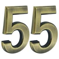 2 pcs Mailbox Numbers 0,3D Brass Metal Self-Stick Door House Numbers,Street Address Plaques Numbers for Residence and Mailbox Signs,2-3/4 Inch (5)