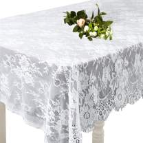 Lace Tablecloth 60 × 120 Inch White Classy for Rustic Boho Wedding Bridal Shower Party Decorations, Rectangle Overlay Long Vintage Embroidered Reception Table Cloth Decor