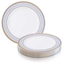 Elegant Disposable Plastic Dessert Plates 120 Pcs - Heavy Duty Round White with Blue & Gold Rim Appetizer Salad Cake Plates - Reusable Bulk Party Supplies For Wedding, Easter, Birthday & All Occasions