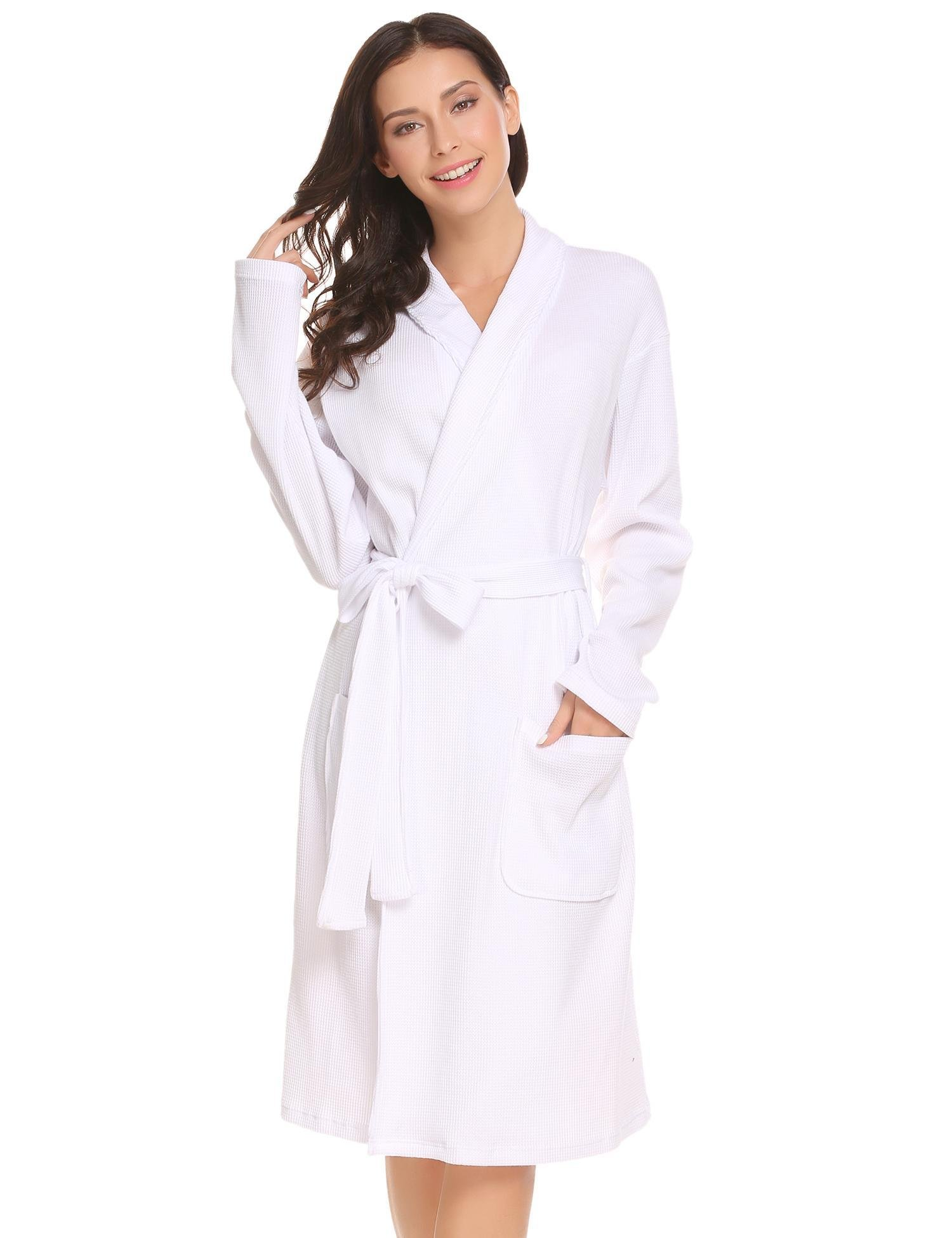 Ekouaer Womens Bathrobe Spa Hotel Kimono Cotton Robe Lounge Sleepwear
