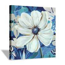Hardy Gallery Abstract Flower Artwork Wall Art: Blossom White Floral Picture with Silver Foils Painting Printed on Canvas for Bedrooms (24''x24'' x 1 Panel)