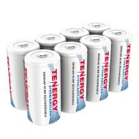 Tenergy Premium Rechargeable C Batteries, High Capacity 5000mAh NiMH C Size Battery, C Cell Battery, 8-Pack
