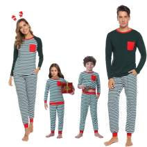 Abollria Matching Family Cotton Striped Pajamas Set Sleepwear PJS Set for Women/Men/Boys/Girls