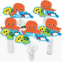 Big Dot of Happiness Under the Sea Critters - Baby Shower or Birthday Party Centerpiece Sticks - Table Toppers - Set of 15