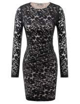 Women Full Lace Business Work Office Bodycon Pencil Dress Knee Length Black L