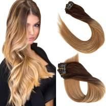 """Clip in Human Hair Extensions 7 Pieces 70G Double Weft Real Clip in Hair Extensions Medium Brown to Strawberry Blonde Highlights Straight Clip in Remy Extensions for Women Clip on for Fine Hair 20"""""""