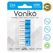 VONIKO Alkaline Battery 23 A - Ultra 23A Battery 6 Pack - Long Lasting 12 Volt A23 Battery for Doorbells and Power Remote, 3 Years Shelf Life