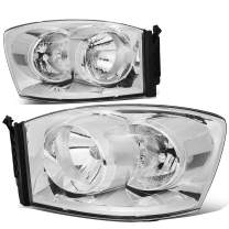 DNA Motoring Chrome Housing/Clear Corner HL-OH-RM06-CH-CL1 Pair Factory Style Front Driving Headlight Lamp Set Replacement